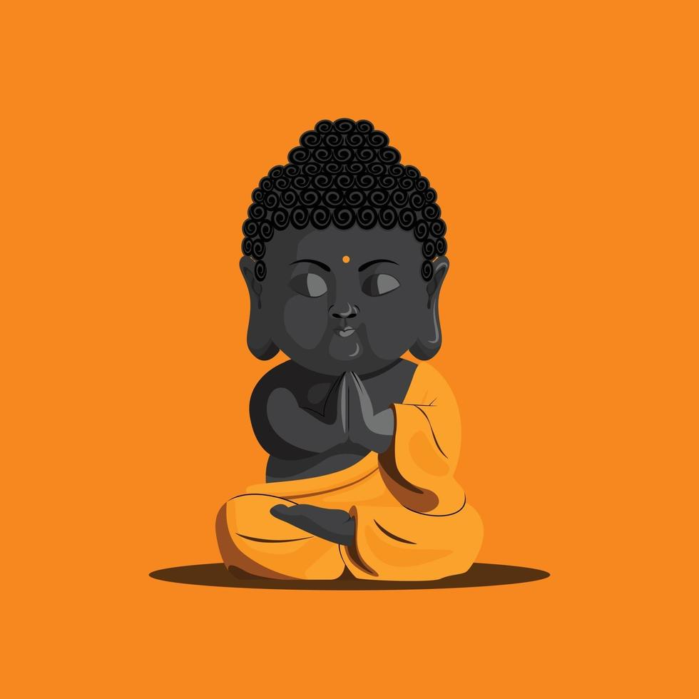 Baby monk vesak day illustration vector
