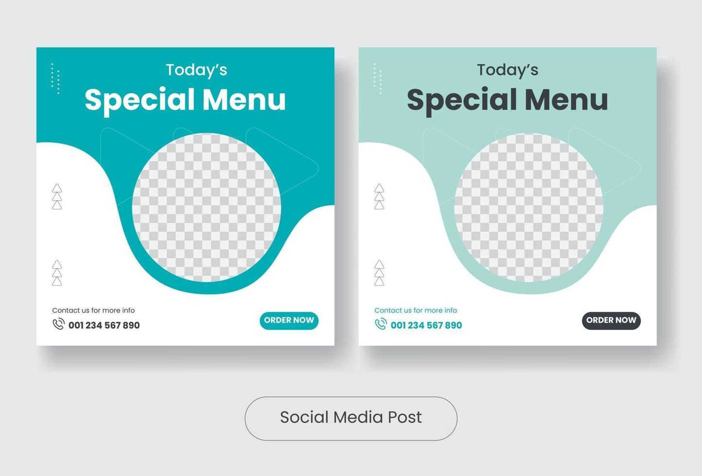 Special food menu social media post template banner set vector