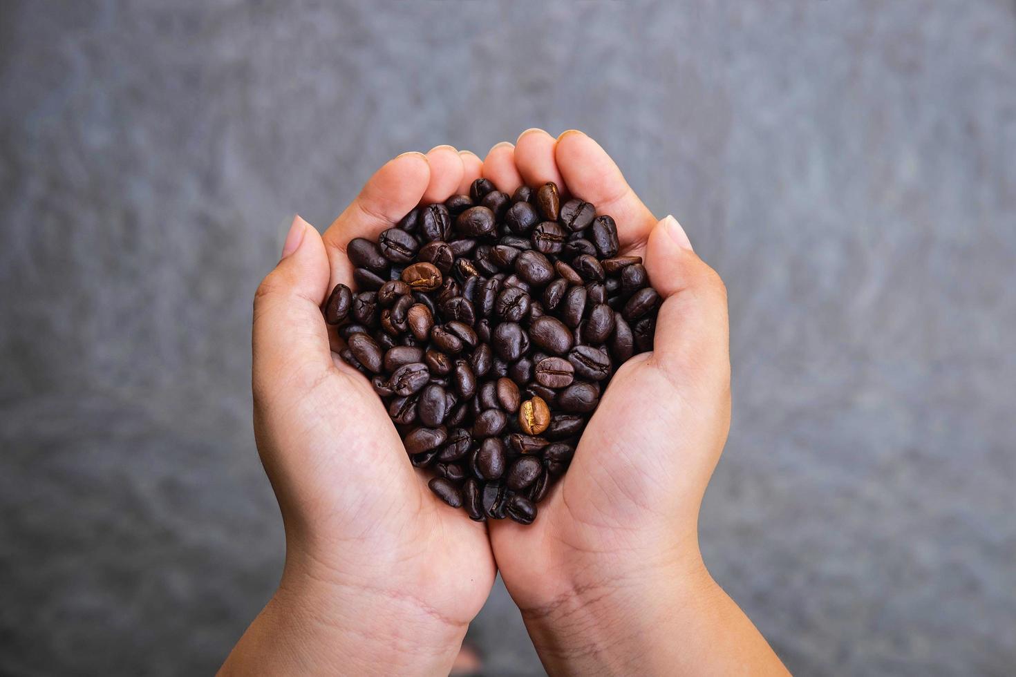 granos de café tostados en la mano foto