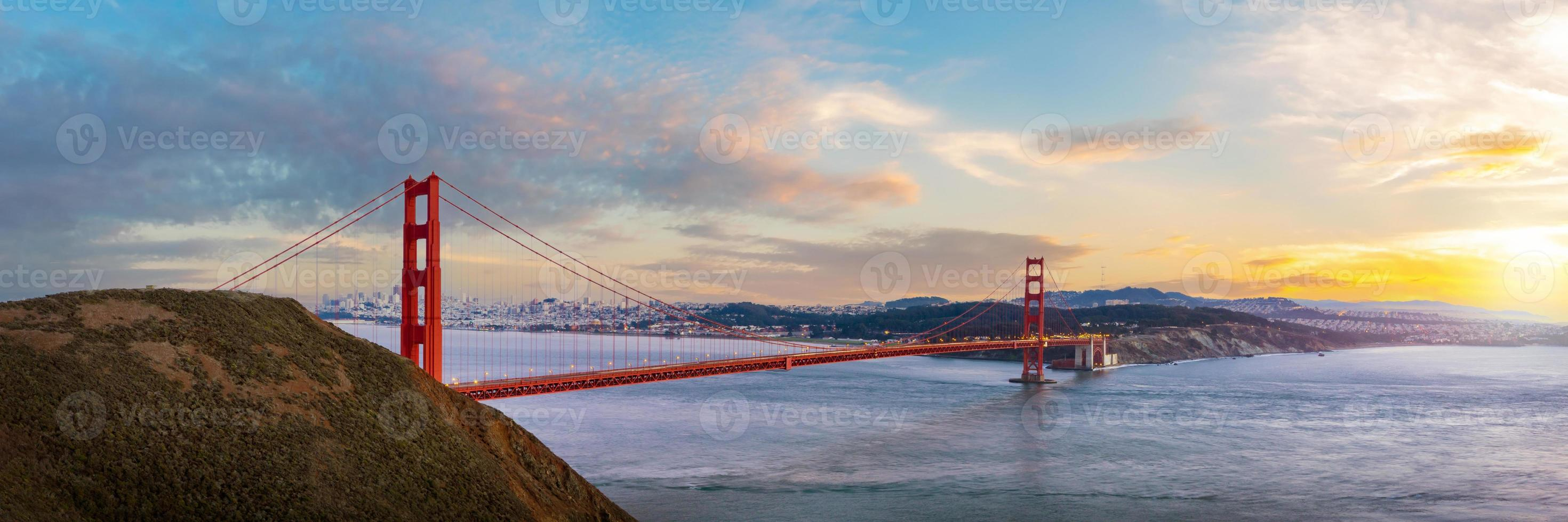 Panorama view of Golden Gate bridge on sunset time photo
