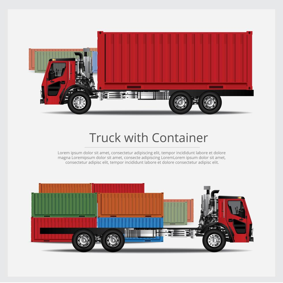 Cargo Trucks Transportation with Container set vector