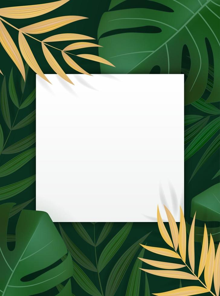 Natural Realistic Green Palm Leaf Tropical Background with Empty Blank Frame vector