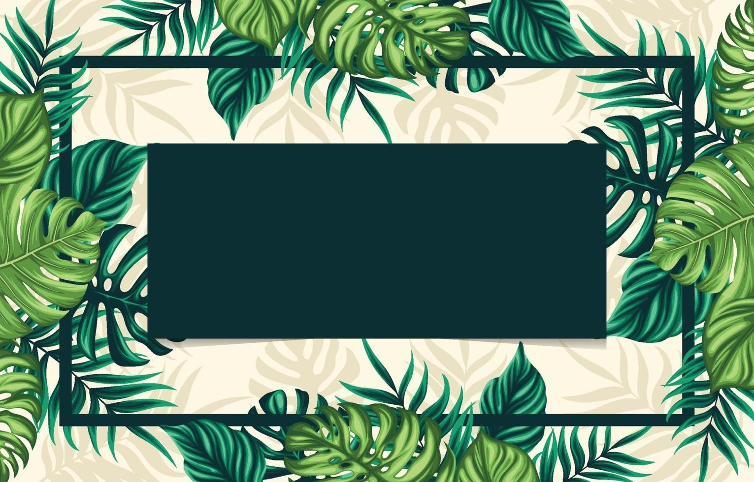 Tropical Floral Leaves Background vector