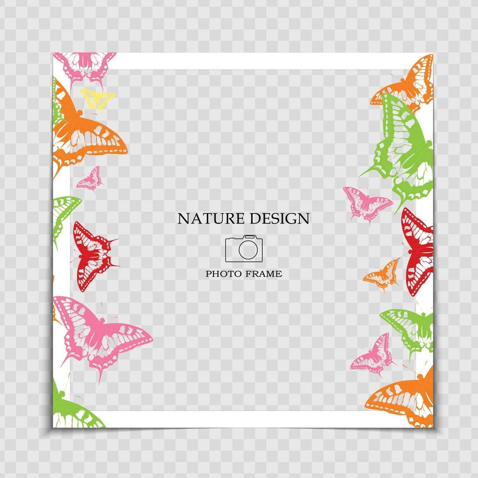 Natural Background Photo Frame Template with Butterfly for post in Social Network vector