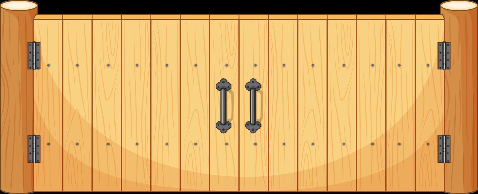 Wooden fence gate in cartoon style isolated vector