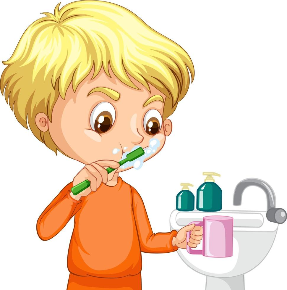 Cartoon character of aboy brushing teeth with water sink vector