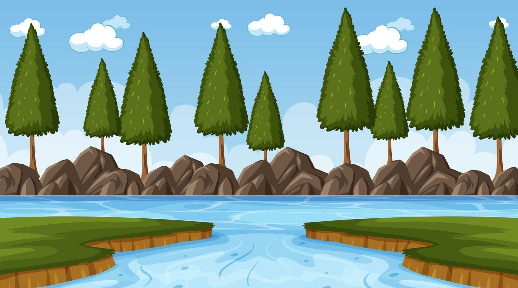 Nuture scene with river in the forest at day time vector