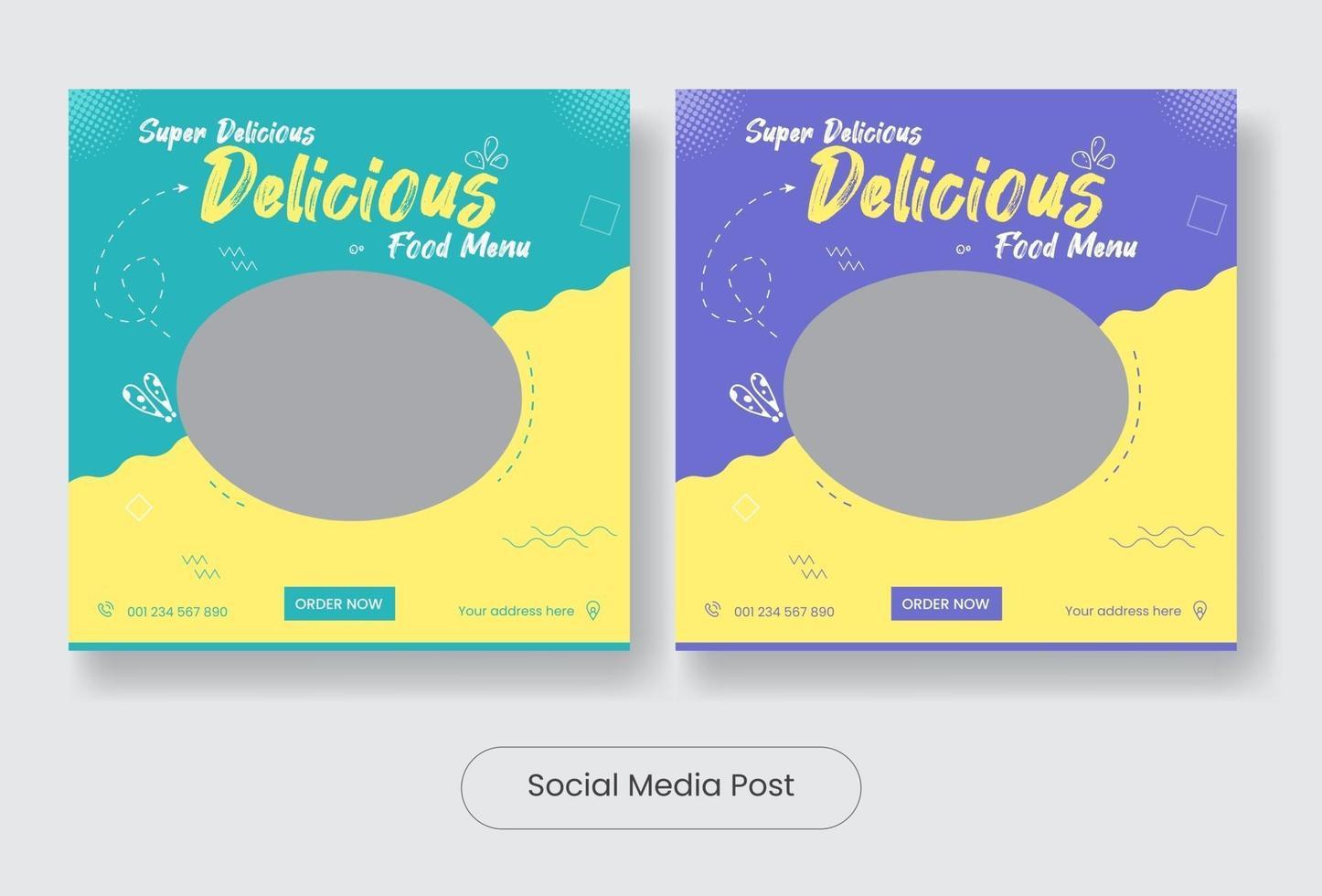 Delicious food menu social media post banner template set vector