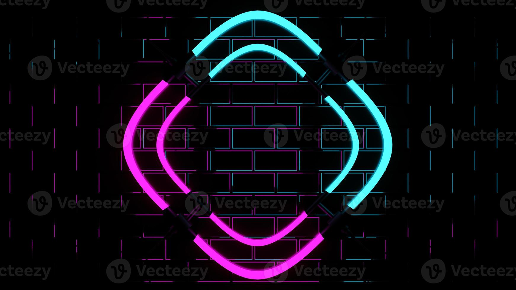 3d rendering showing pink and blue neon lights photo