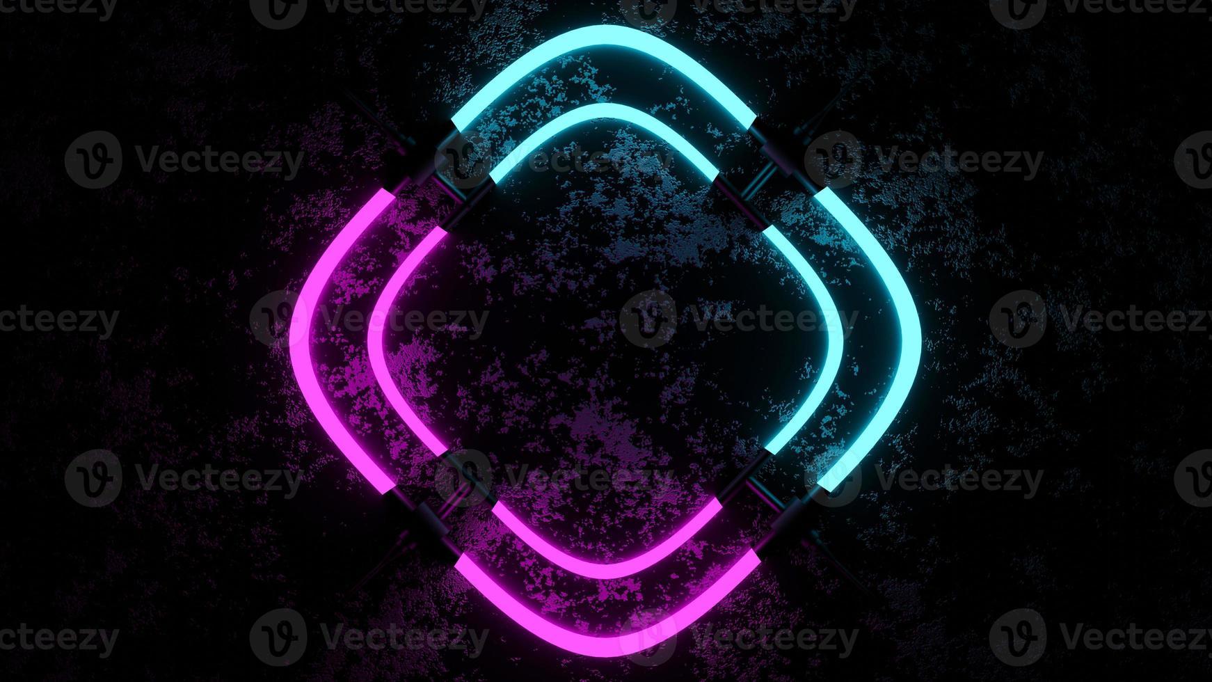 Representación 3D que muestra luces de neón rosa y azul foto