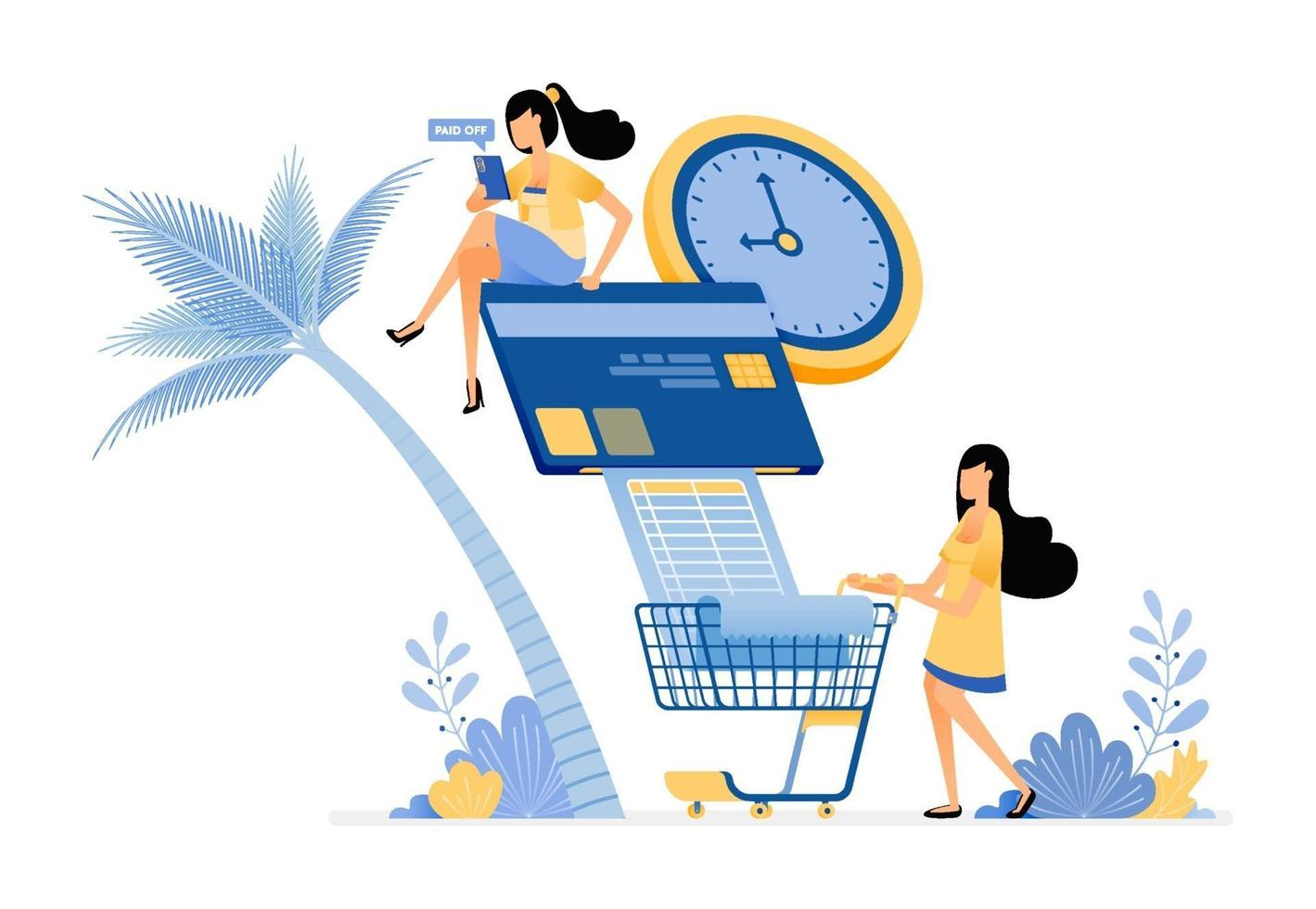 People paying their credit card bills and monthly grocery bills online vector