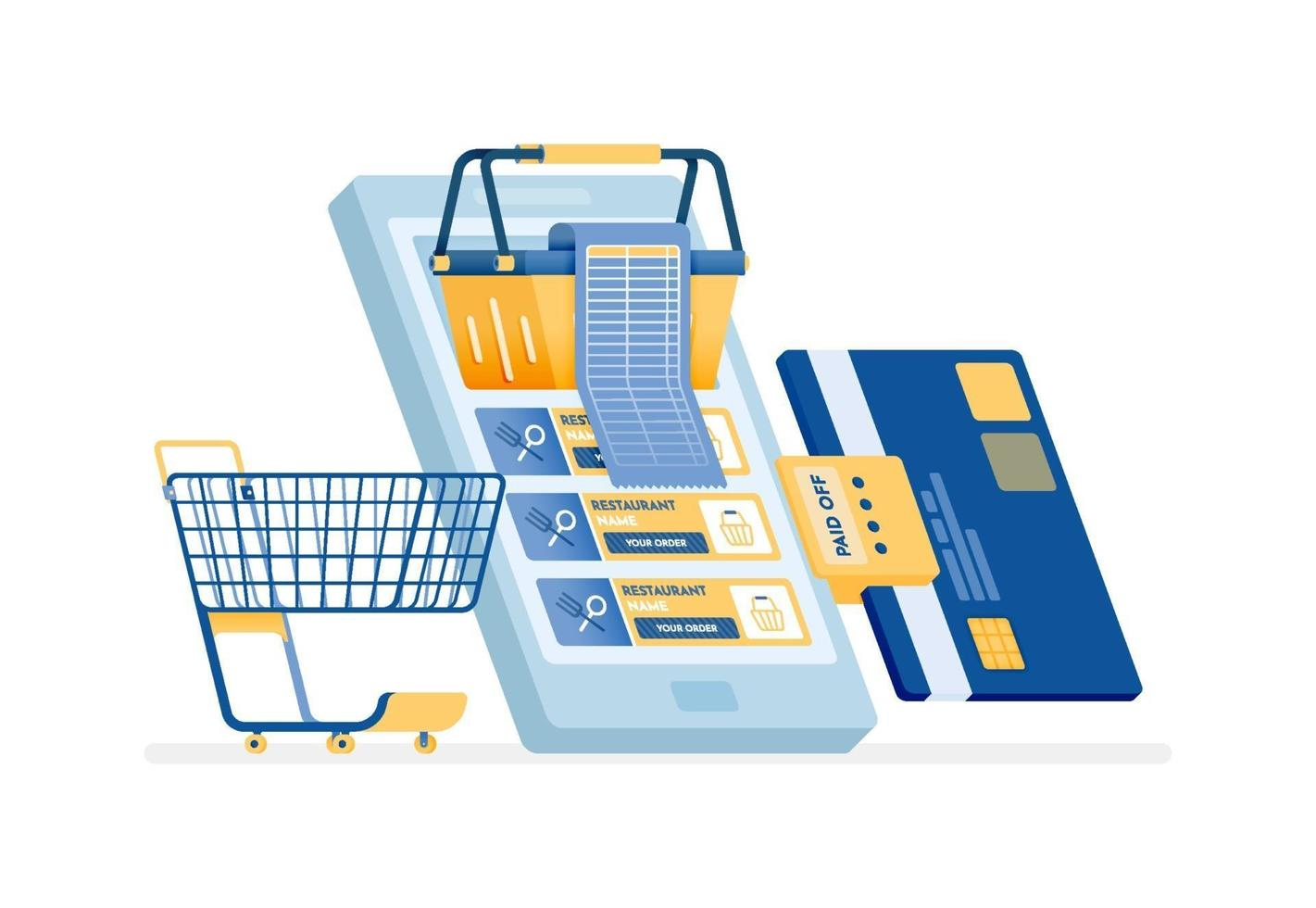 Icon design of paying shopping bills by credit card online vector