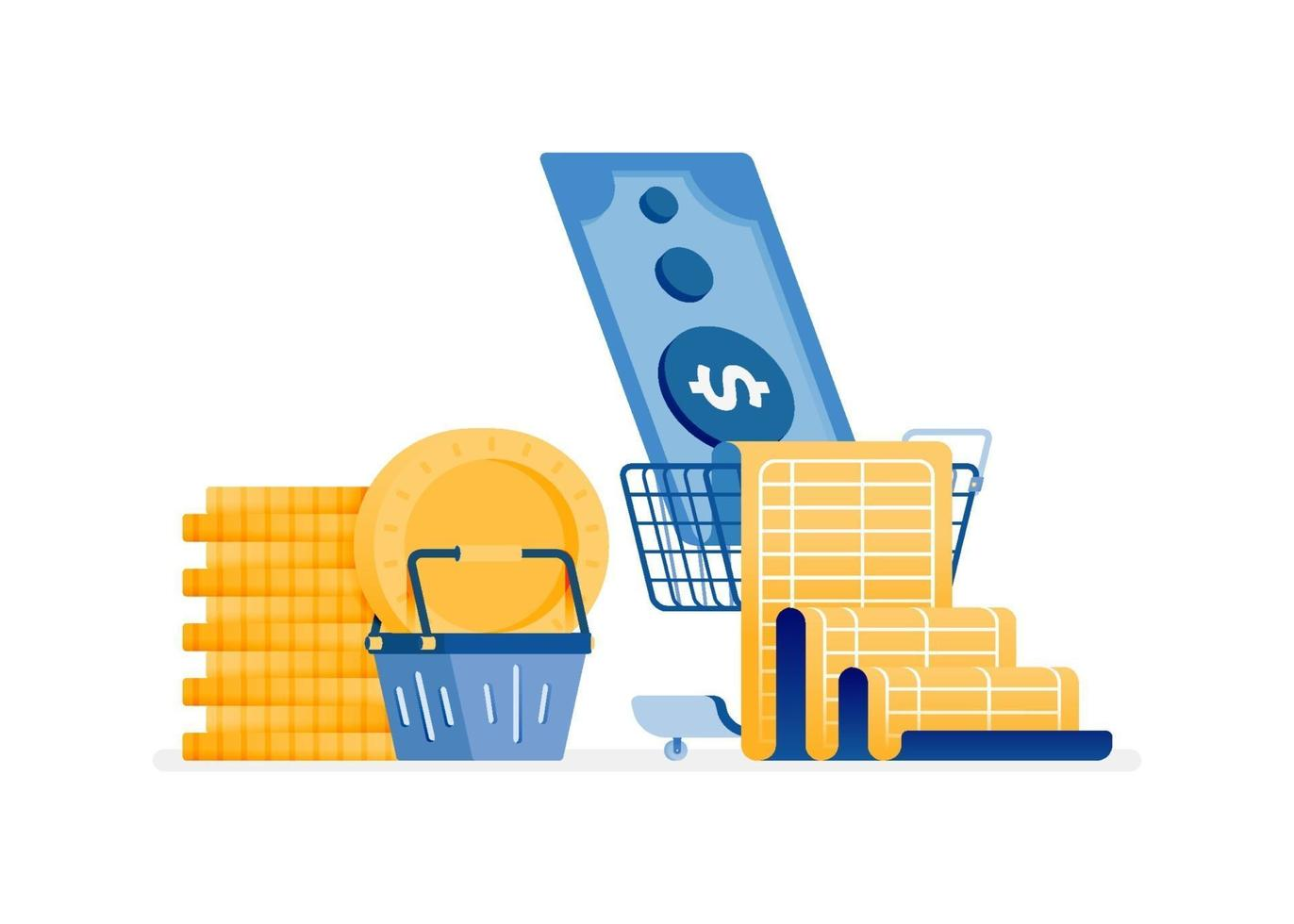 Online budgeting concept vector