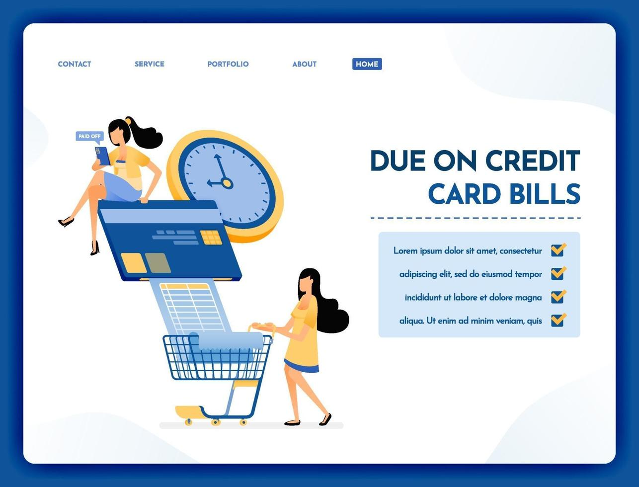 Landing page illustration of on time credit card payment vector