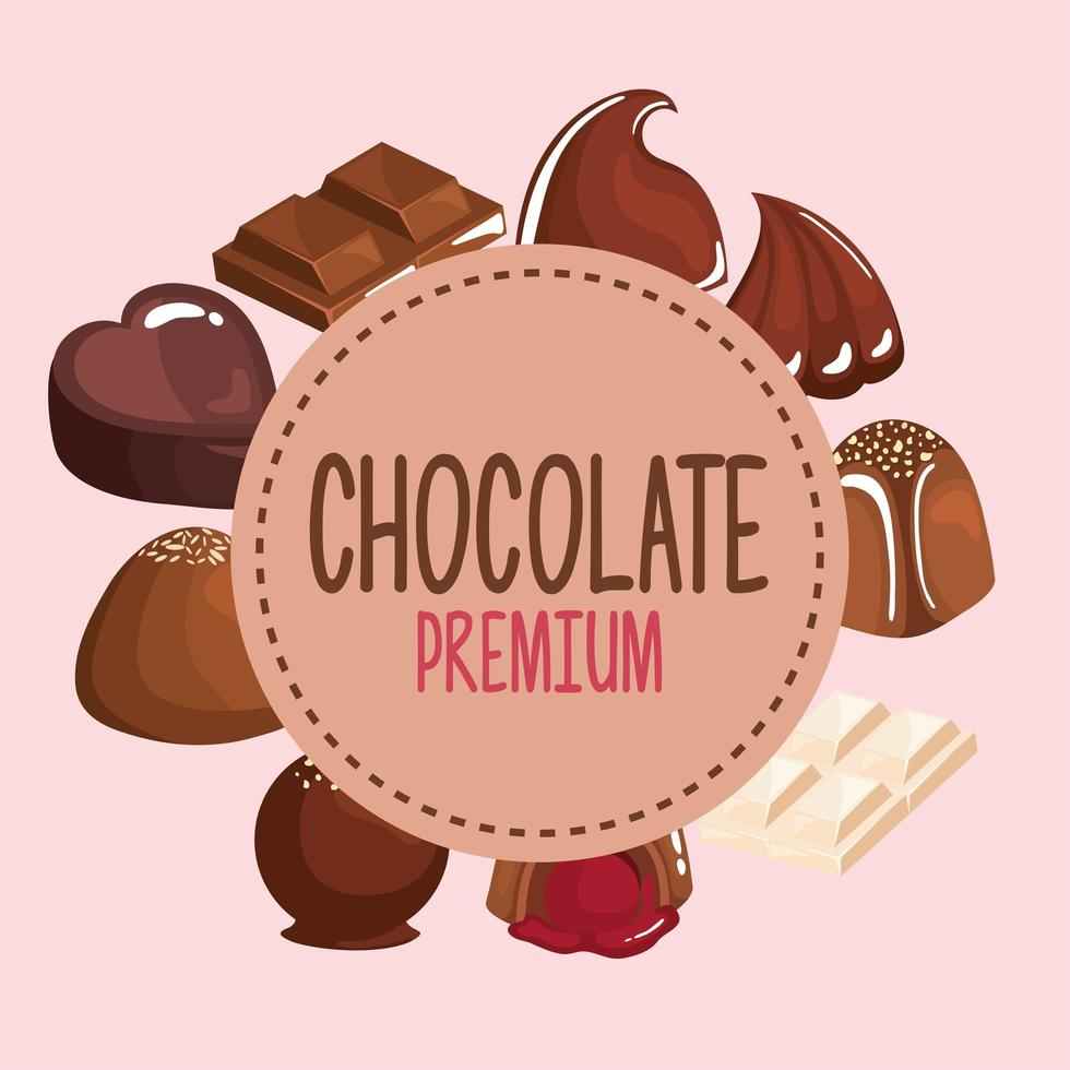 chocolate products frame vector