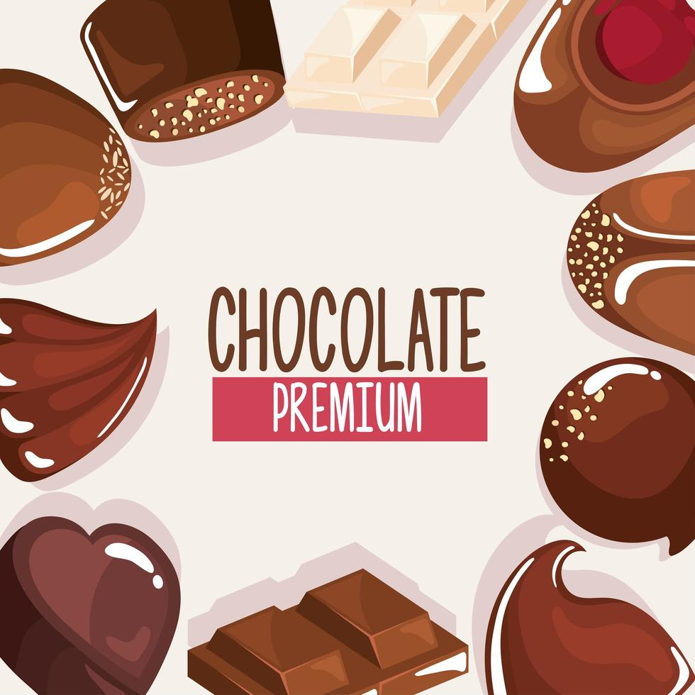 chocolate products around vector