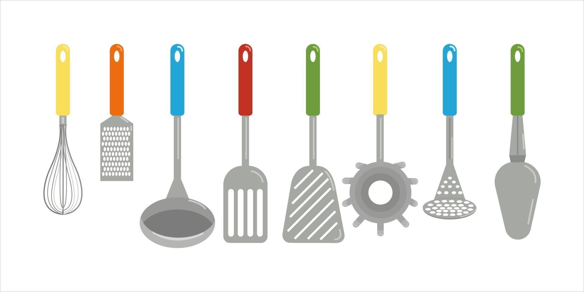 Set of different kitchen spatulas and spoons towel grater whisk vector clipart in cartoon style isolate flat illustration