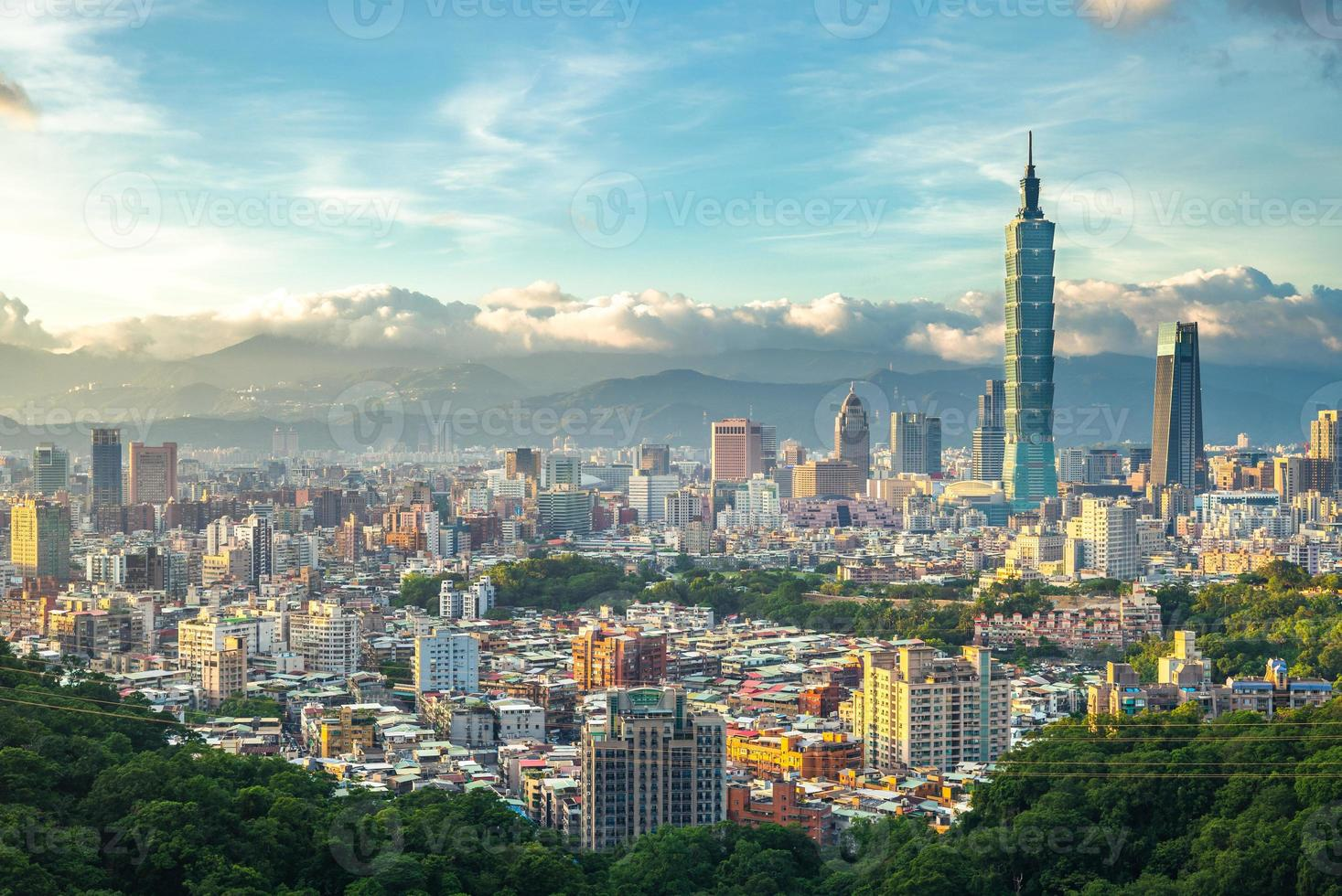 Panoramic view of Taipei City in Taiwan photo