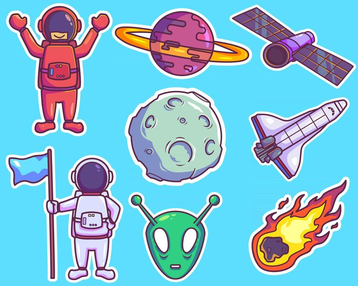 Set of space stickers vector