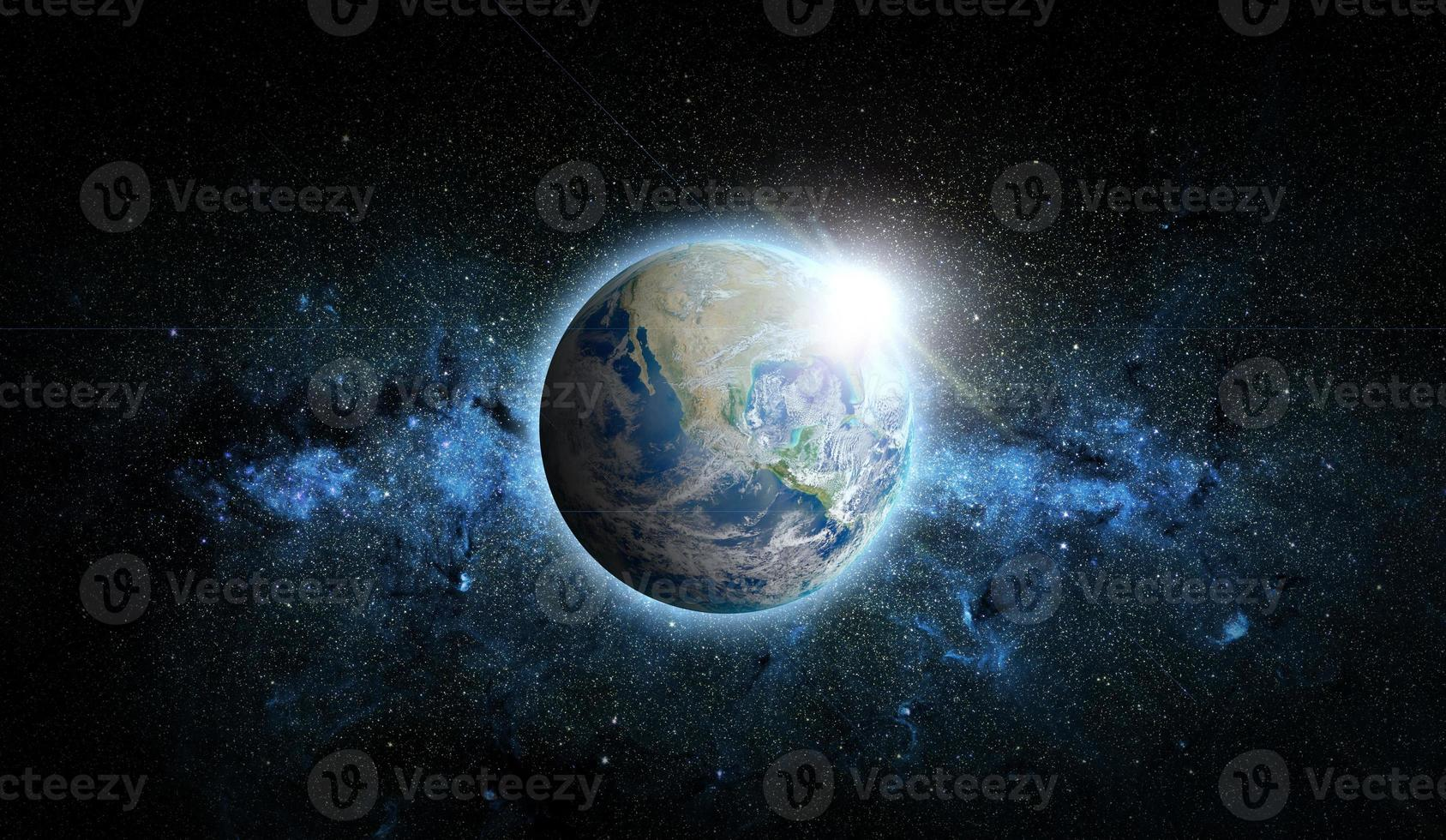 Planet Earth with sunrise on space background, elements of this image furnished by NASA photo