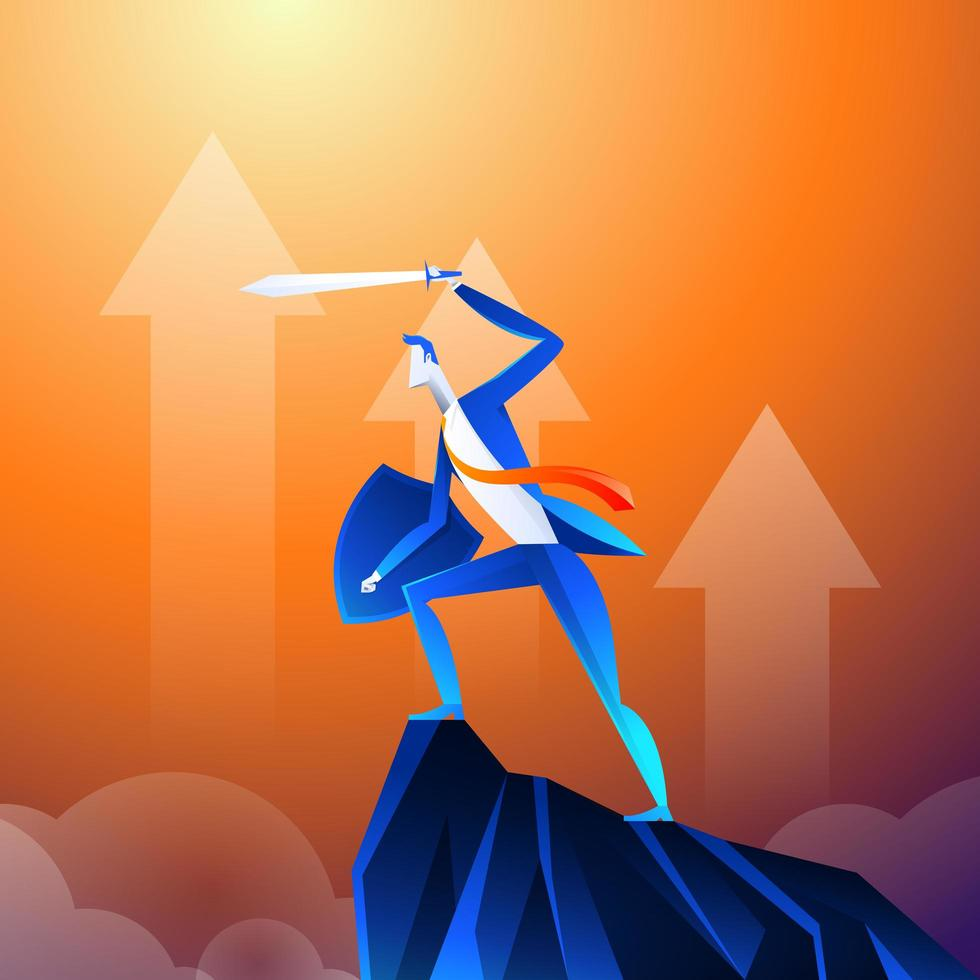 Flat isometric vector concept. A businessman that looks like a superhero is showing sword on mountain.