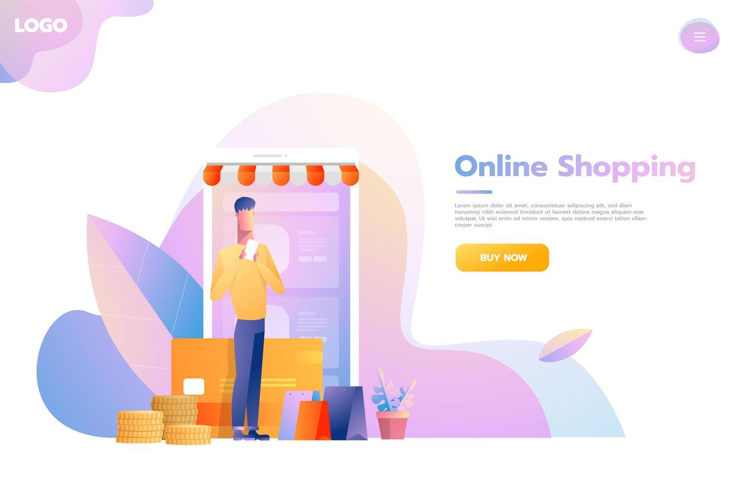 Man using mobile shopping app. Store that looks like smartphone. Online shopping concept. Vector flat design illustration.