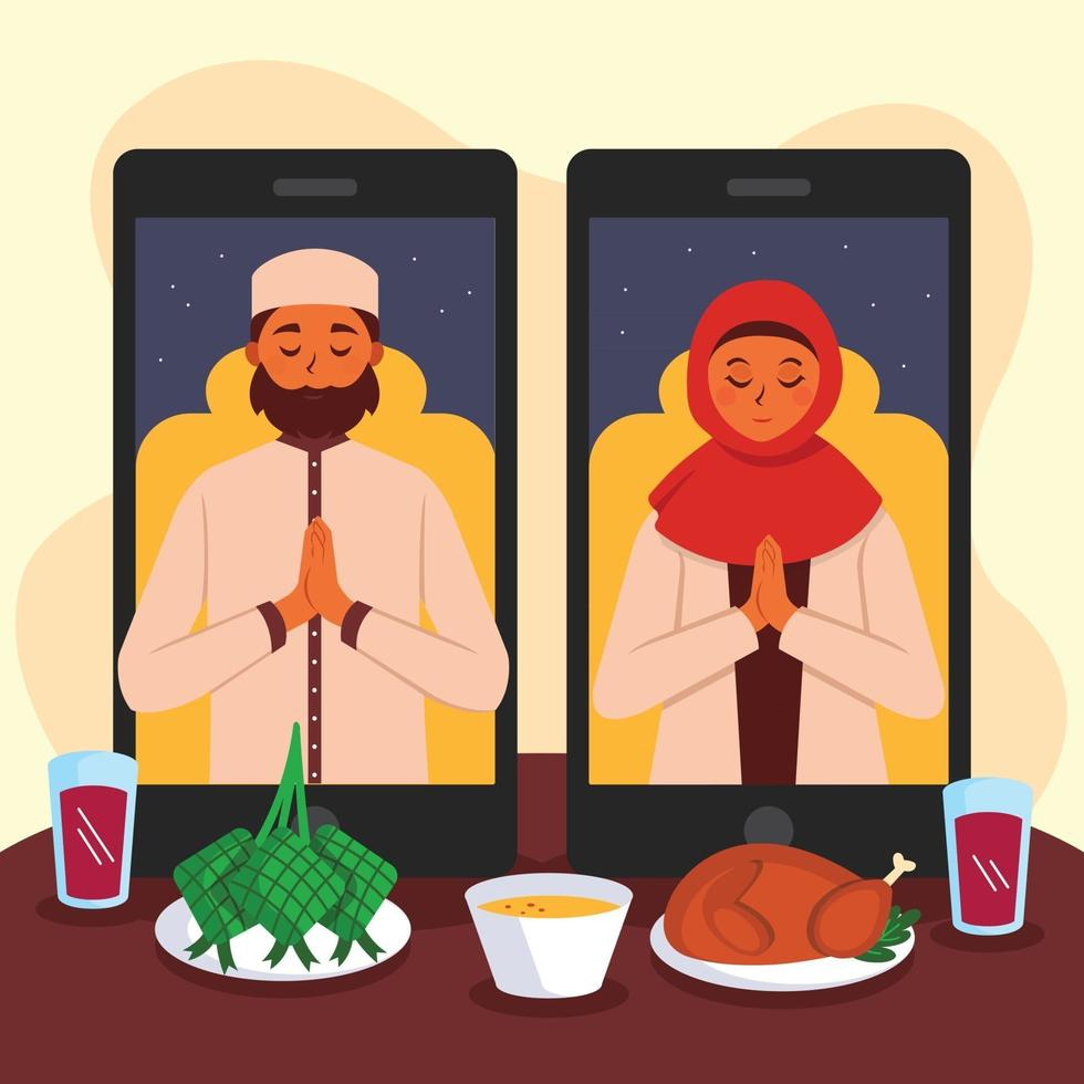 Give and Receive Forgiveness through Technology during Eid vector