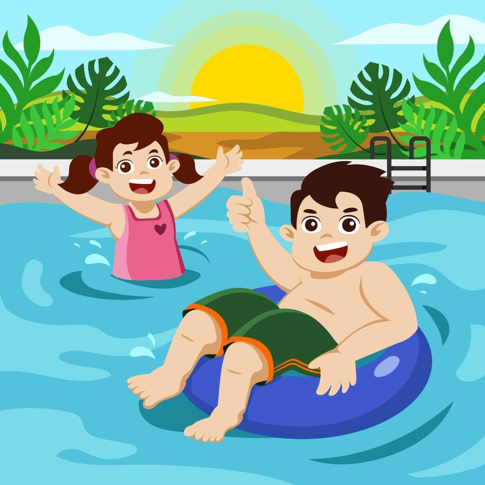 Happy Kids Swimming at Pool in Summer Time vector
