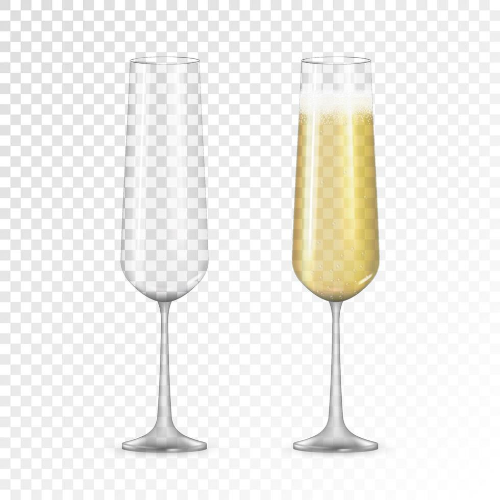 Realistic 3D champagne Golden Glass Icon isolated vector