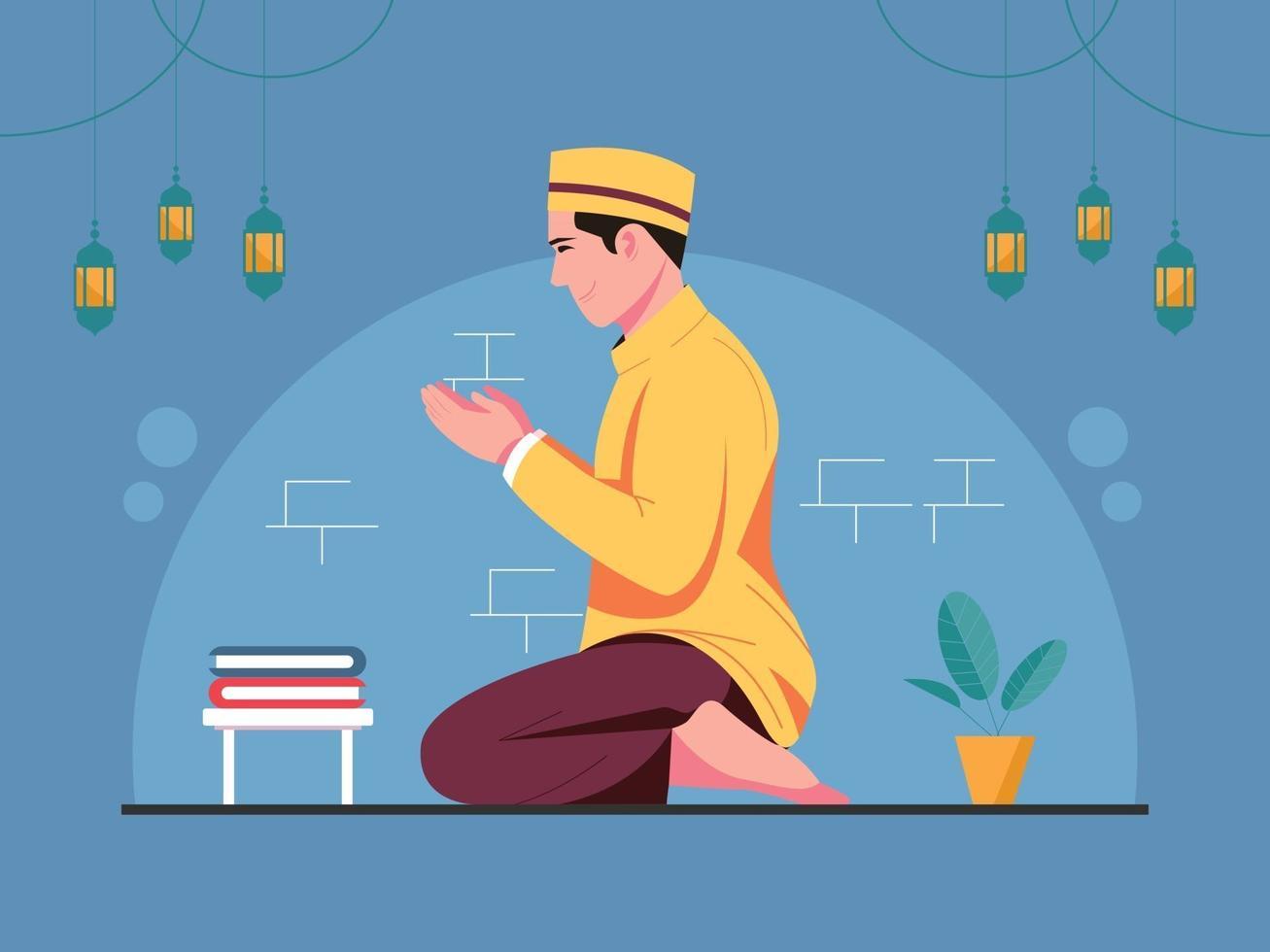 Vector illustration of Muslim Man Pray