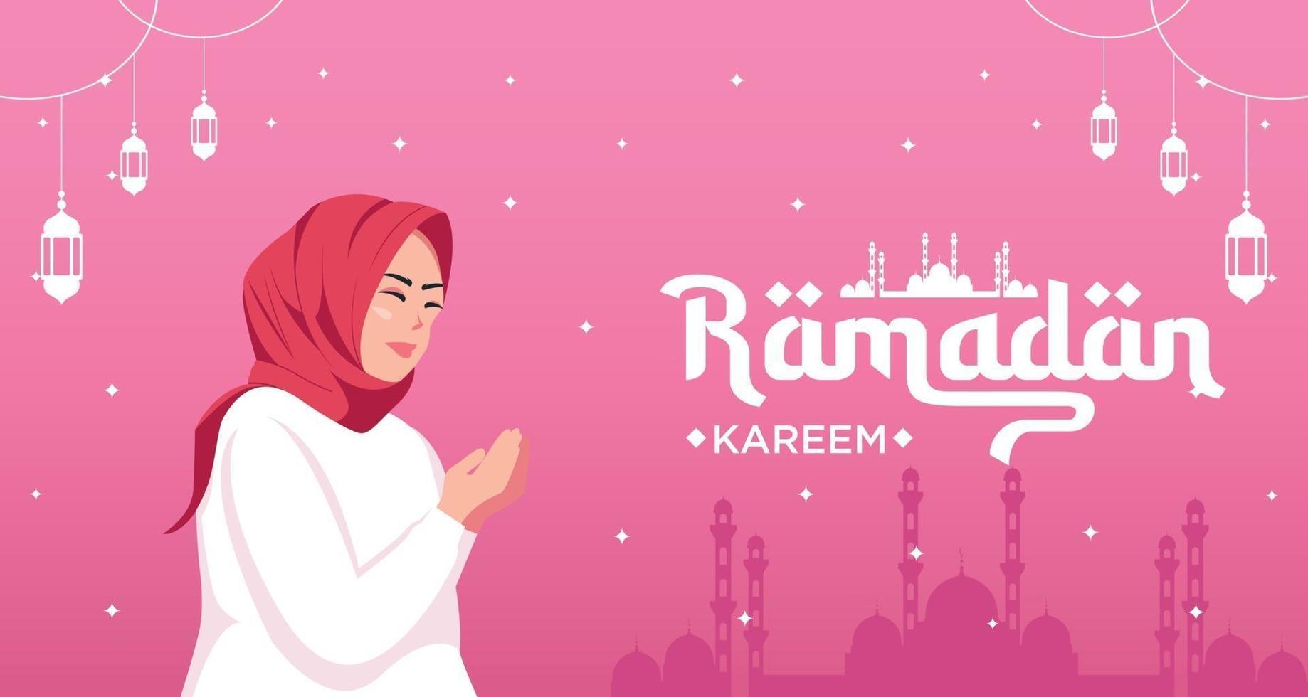 happy ramadan kareem banner with woman character pray vector