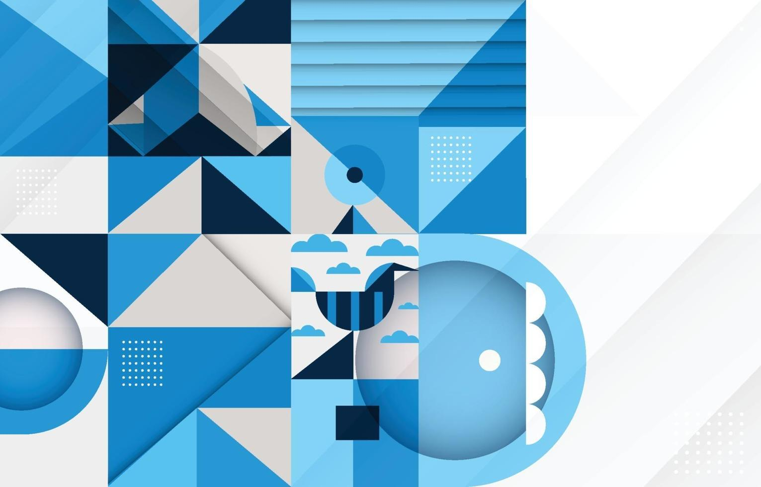 Abstract Geometric Blue Composition Background vector