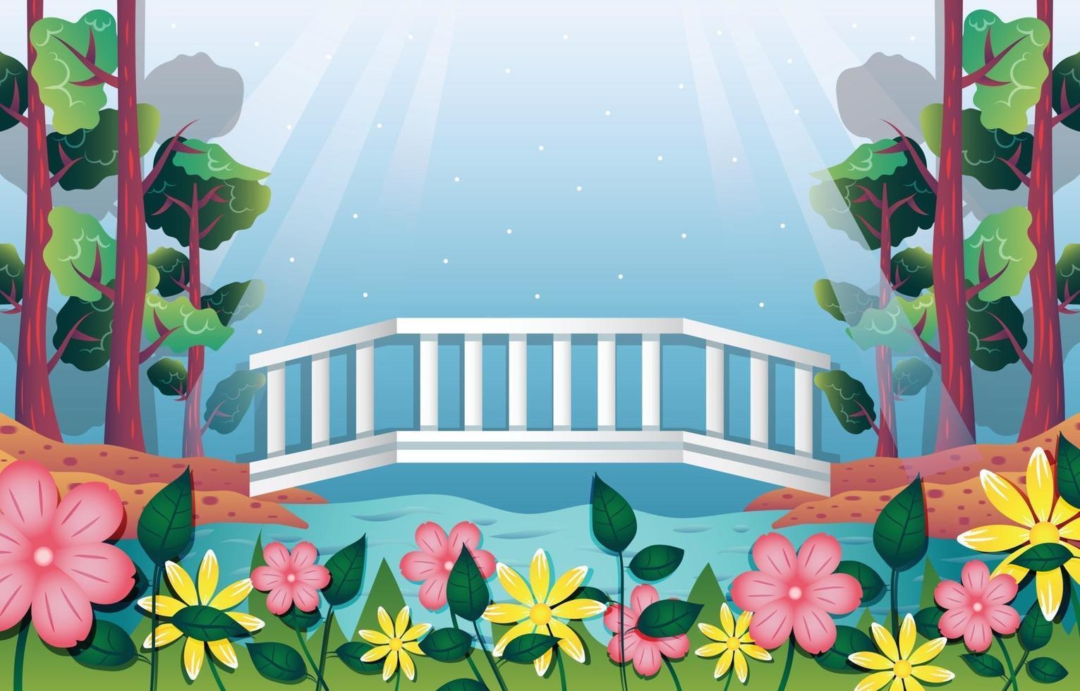 Nature Landscape with Bridge Background Template vector