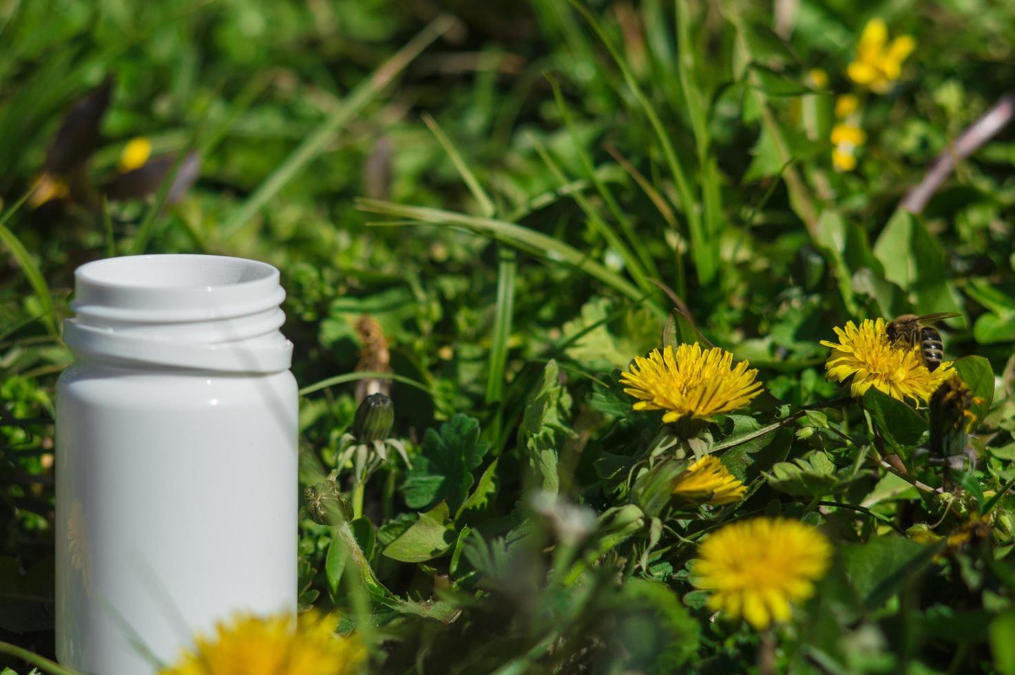 Pastillas blancas en la hierba con flores. foto