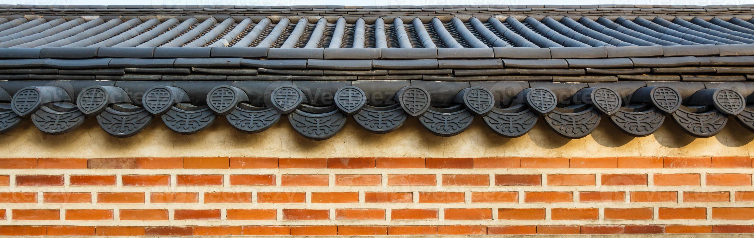 techo en la pared en el palacio gyeongbokgung corea del sur foto