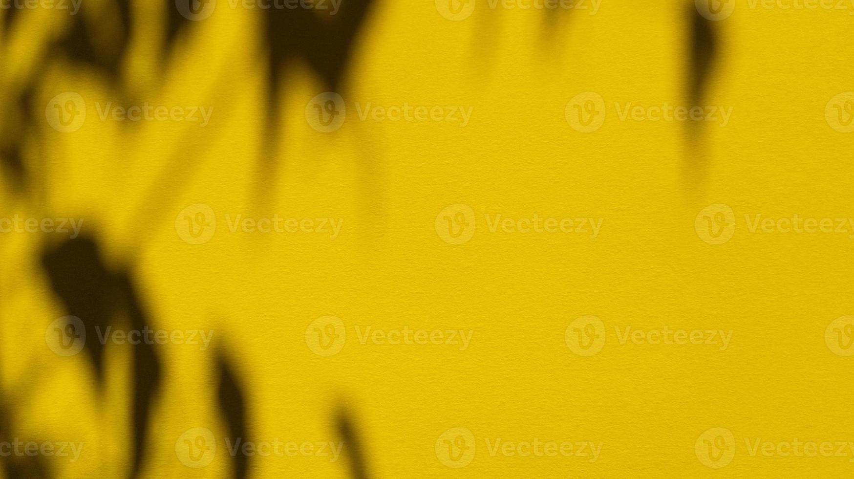 Leaves shadows on yellow pastel paper Abstract backgorund Stock photo