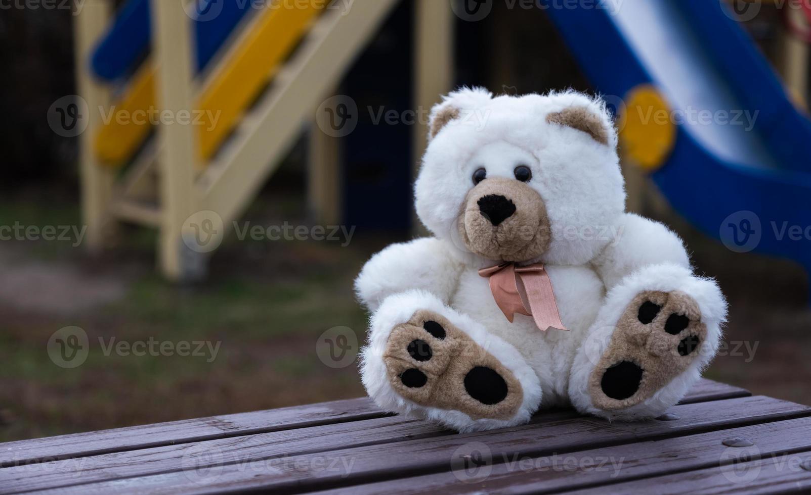 Sad lonely teddy bear photo