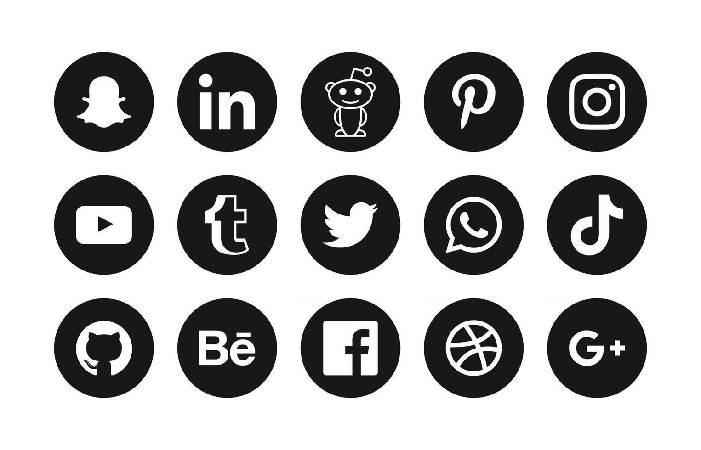 Social media icons set black editorial logos vector