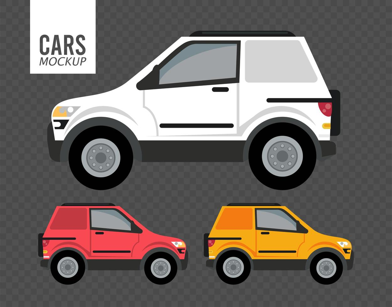 campers mockup cars vehicles icons vector