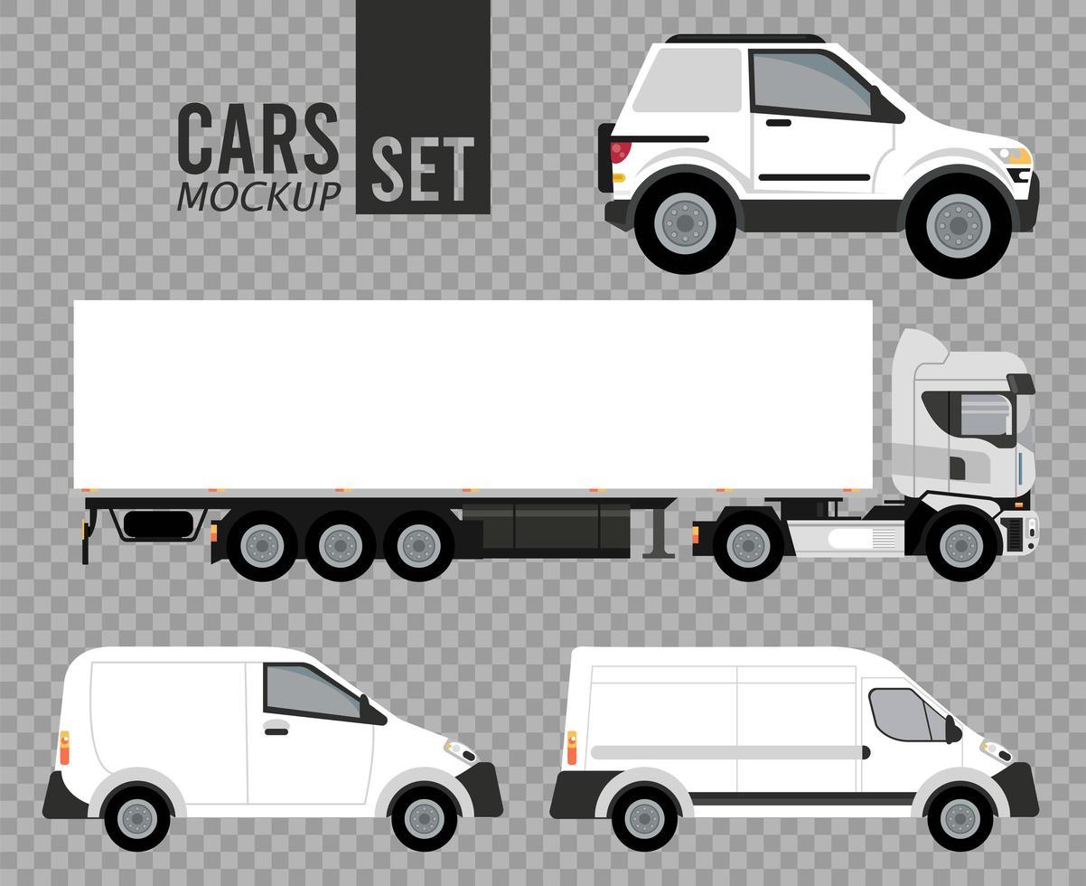 white set mockup cars vehicles icons vector