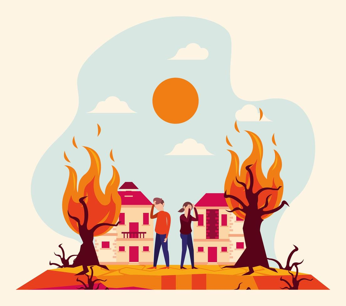 global warming alert with people and forest fire vector