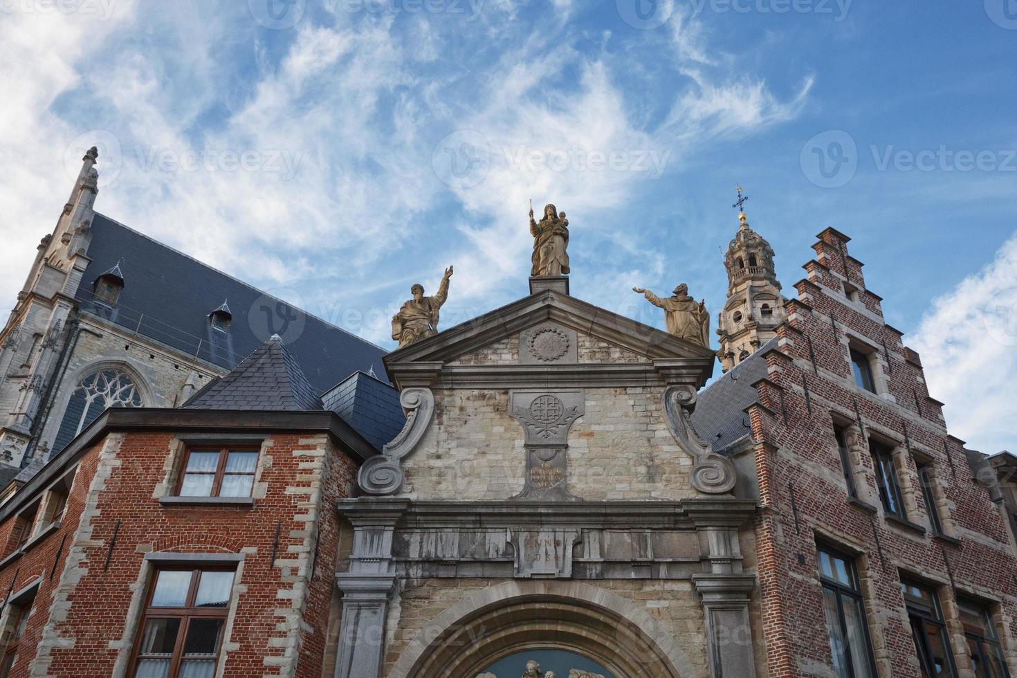 Sculptures of XVIII century on St Pauls Church Sint Pauluskerk which is a Roman Catholic church located at the Veemarktkade in Antwerp Belgium photo