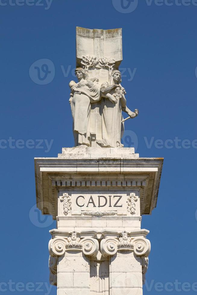 Detail of Monument to the Constitution of 1812 at Spain Square in Cadiz Spain photo