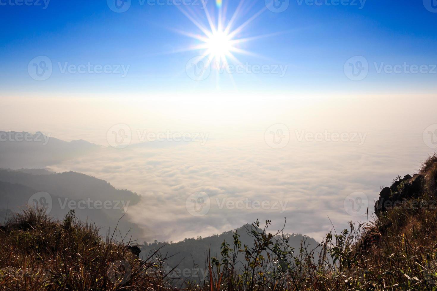 sunrise and sea of fog in morning at Phu Chi Fa   Chiangrai  Thailand photo