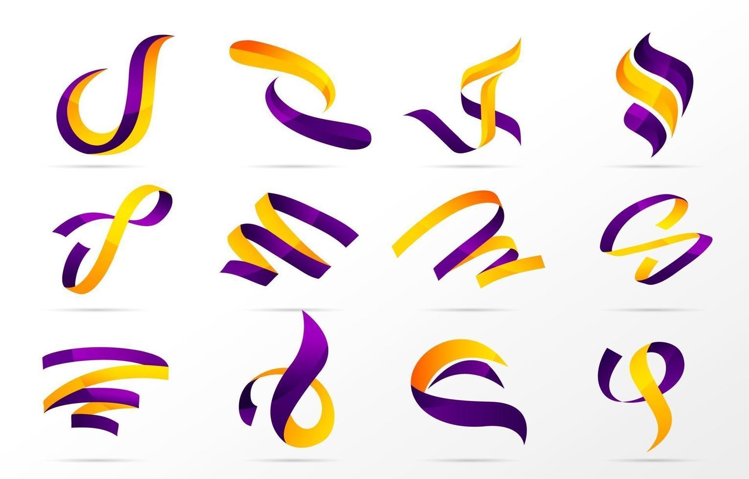 Colorful Ribbon Logo Collection vector