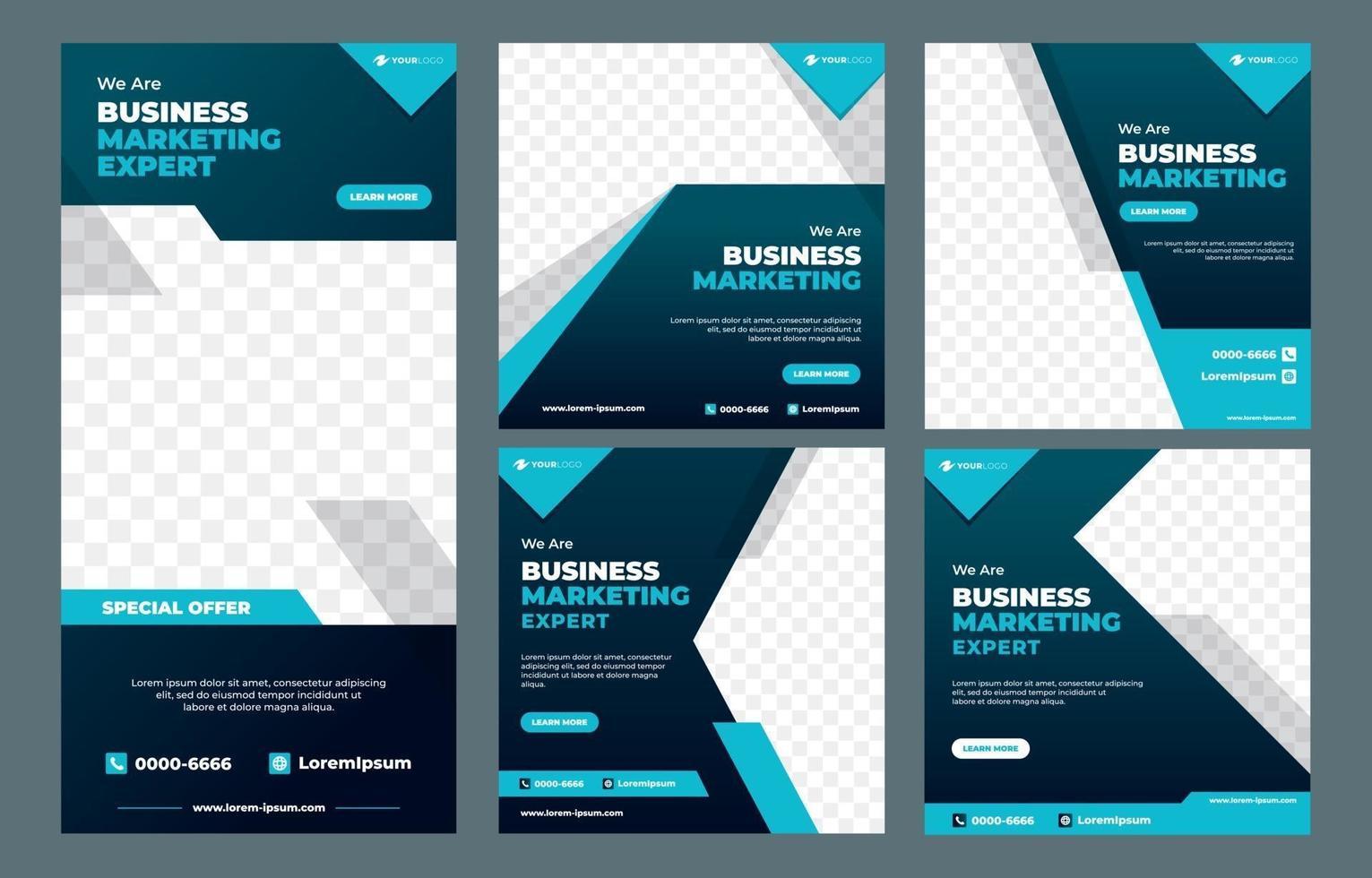 Marketing Agency Social Media Post Template vector