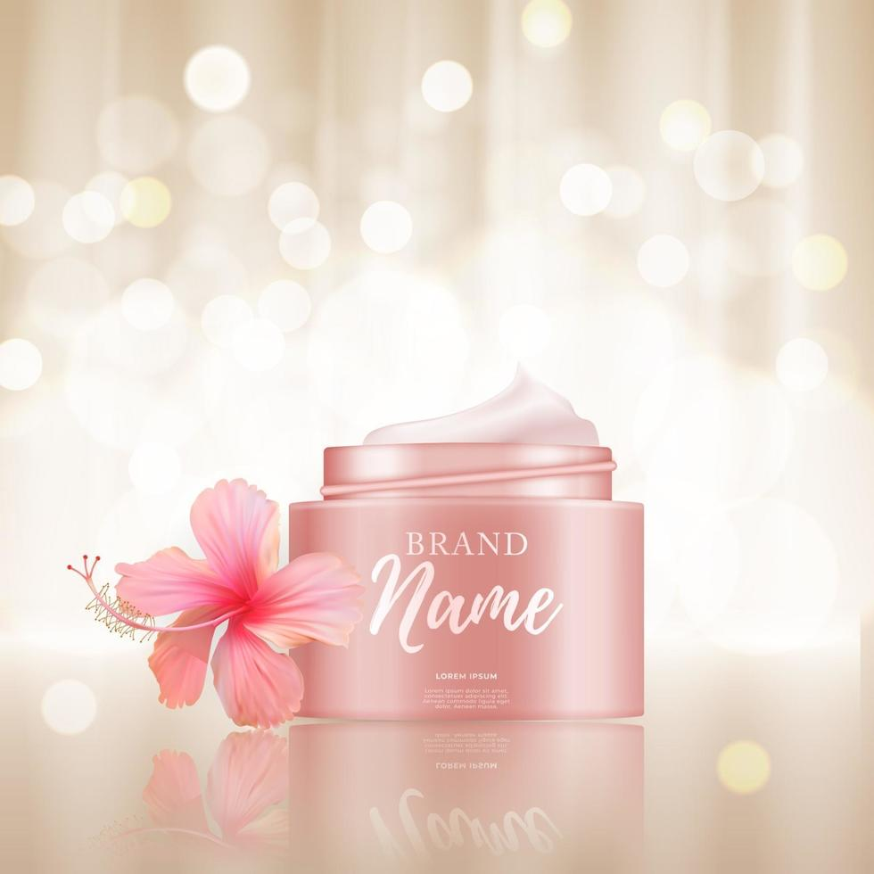 3D Realistic Natural beauty cosmetic product for face or body care on glossy bokeh background. vector