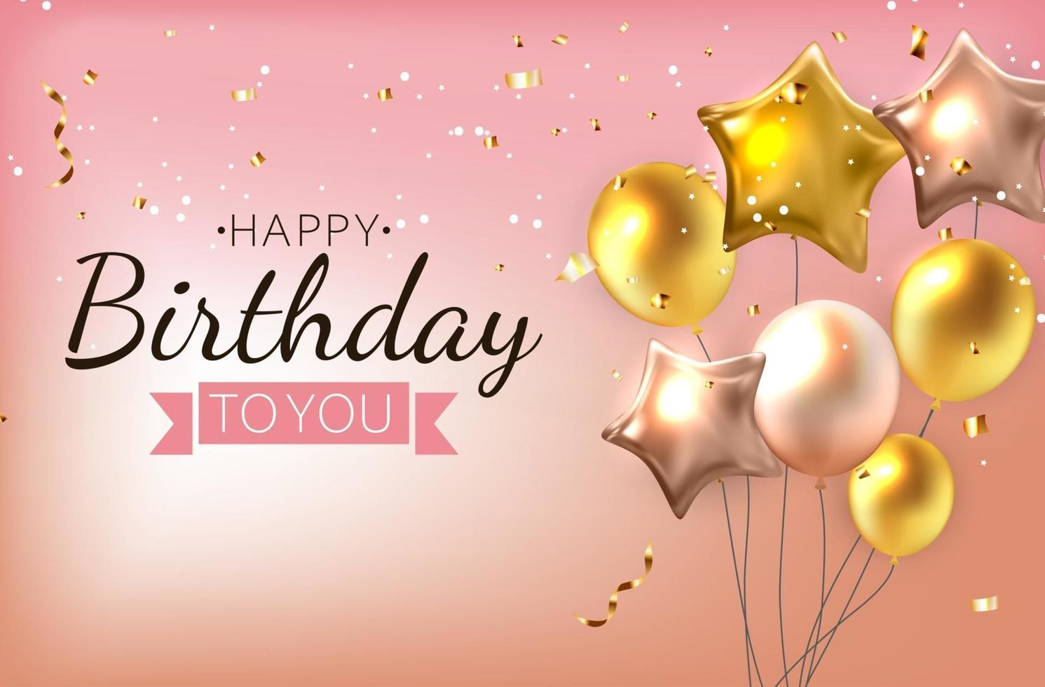 Color Glossy Happy Birthday Balloons, Banner Background Vector Illustration
