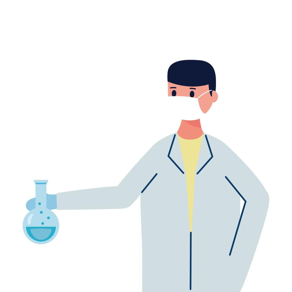 male doctor wearing medical mask with tube test flask laboratory flat icon vector
