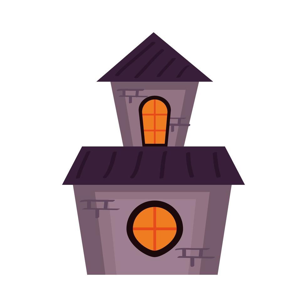 halloween haunted castle building tower vector
